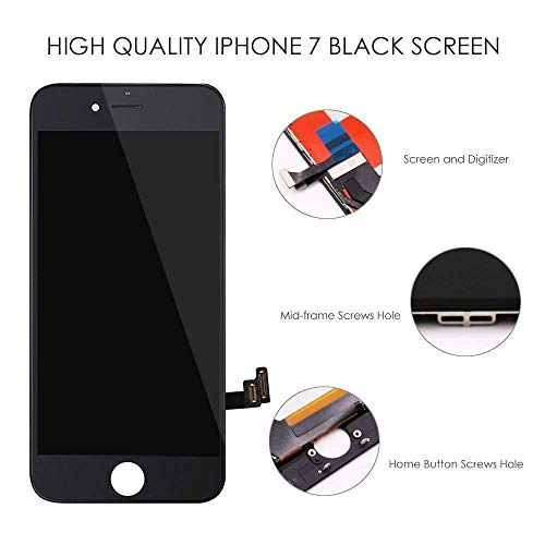 QTlier Screen Replacement for iPhone 7 LCD Display and Touch Screen Digitizer Replacement Full Assembly with Repair Tool Kit(Black, 4.7Inch, for iPhone 7) by QTlier (Image #3)