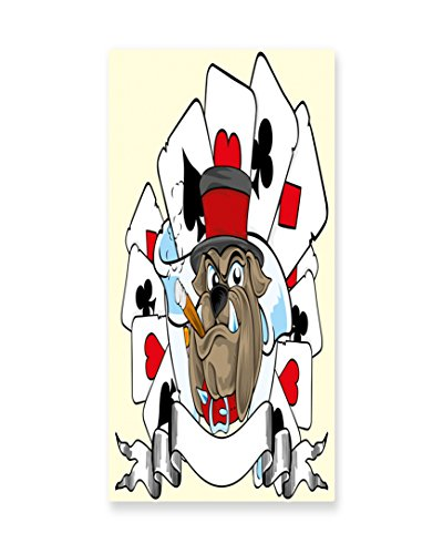 Lunarable Poker Tournament Wall Art, Cartoon Style Bulldog with Playing Cards Ribbon Rich Winner Image Print, Gloss Aluminium Modern Metal Artwork for Wall Decor, 11.6 W X 23.5 L Inches, (Dog Costume Winners)