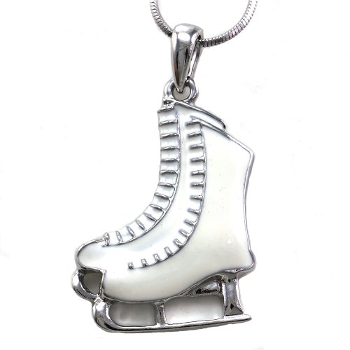 Soulbreezecollection White Figure Skating Ice Skates Necklace Pendant Charm Winter Fashion Jewelry