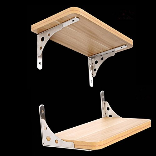 Wall Mounted Shelf Brackets Support Stainless Steel 8'' Long Arm Dual Purpose Shelf Brackets Tray Max Bearing 50lb Sold in two Pairs(Board Not Included) (8''-two pairs) by Jsentai