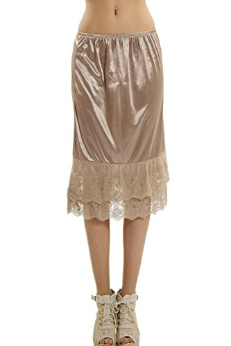 [Shop Lev] Melody Women's Long Double Lace Satin Skirt Extender / Half Slip (SMALL, - Slip Maternity Half