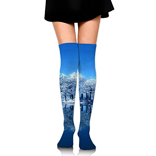 Snowy Over The Knee Long Socks Tube Thigh-High Sock Stockings For Girls & Womens -
