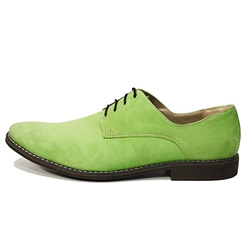 Modello Sito - Cuero Italiano Hecho A Mano Hombre Piel Verde Zapatos Vestir Oxfords - Cuero Ante - Encaje
