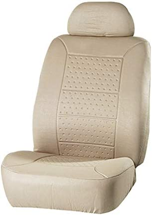 ECCPP Universal 5MM Padding Soft Car Seat Cover w/Headrest – 100% Breathable Embossed Cloth Stretchy Durable Beige for Most Cars Trucks Vans