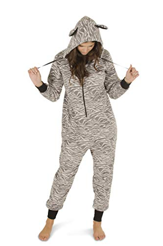 Totally Pink Women's Warm and Cozy Plush Adult Onesies for Women One-Piece Novelty Pajamas (Medium, Grey Zebra)