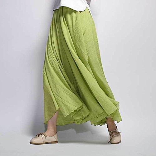 Robe Coton Mariage Tour Jupe Vert Maxi Plage Bohme Elastique de Taille Casual Herbe en Femme Lin Pg1wqFnxq