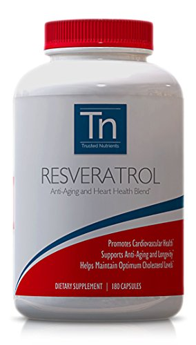 Trusted Nutrients Non-GMO 100 Pure Resveratrol 1000mg 180 Veggie Caps Special Anti-Aging Blend with Trans-Resveratrol Grape Seed Extract Standardized to Contain 95 Polyphenols Acai Maqui Discount