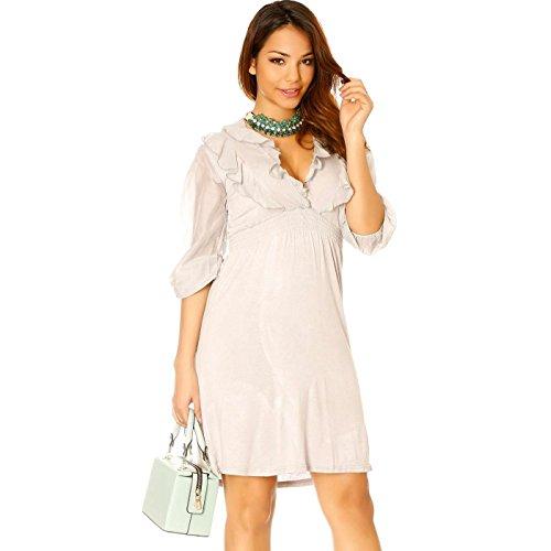 Miss Wear Line - Robe d'été grise avec froufrou en bi-matière