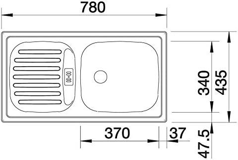 Acero inoxidable, 1 senos, 370 x 340 mm, 15 cm, 780 mm, 435 mm Fregadero BLANCO Flex Mini