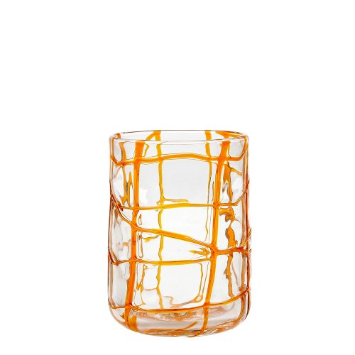 Impulse Abstract Rocks Hand-Crafted Glass, Orange, Set of 4 -