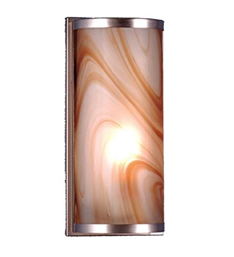 Meyda Tiffany 70876 Cylinder Cognac Swirl Fused Glass Wall Sconce, 5.5