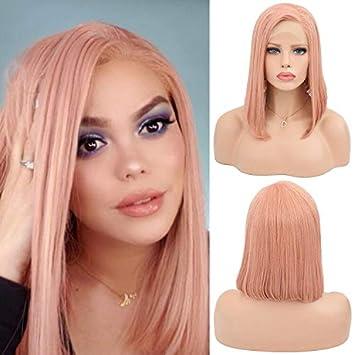 La mode rose perruque courte pour les femmes