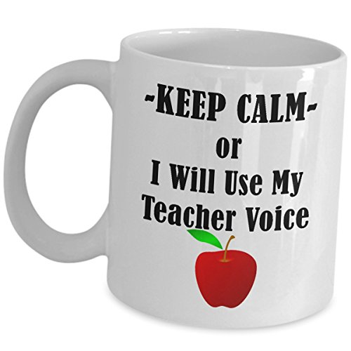 Teacher Appreciation Gifts Coffee Mug Tea Cup - National Teachers Day Month School Year End Theme Graduation From Student Funny for Men Women Mugs Gift - Keep Calm Or I Will Use My Voice