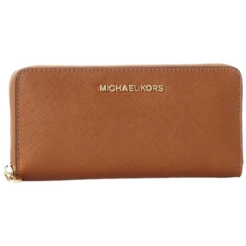 Michael Kors Women's Jet Set Travel Leather Continental Wristlet, Luggage, OS ()