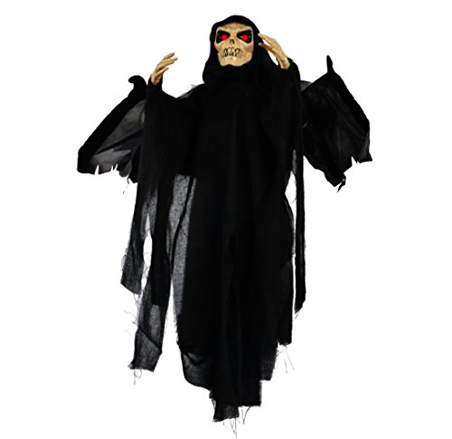 JOYIN 25-inch Animated Skeleton Ghost Halloween Decoration with Blowing Wings, Glowing Red -
