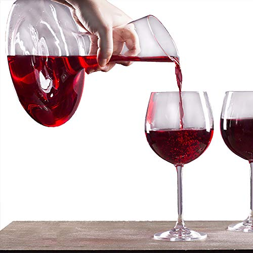 (Hand Blown Crystal Decanter Glass Red Wine Carafe Wine Aerator with Wide Base Accessories Lead Free Premium Gift For Wine Lovers Durable and Heavy Duty Unique Design)