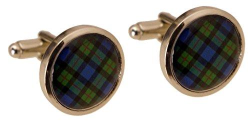 Gunn Scottish Tartan Cuff Links Round Rhodium Plated. Blue Plaid. Made in Scotland