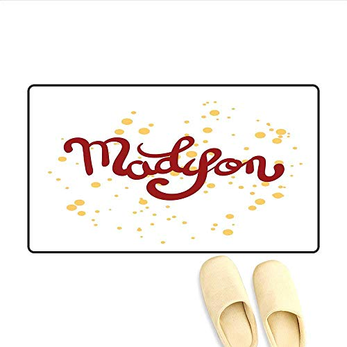 Bath Mat Modern Calligraphy Design Hand Drawn Cursive Letters Common Girl Name Pattern Doormat Outside Ruby and Mustard 20