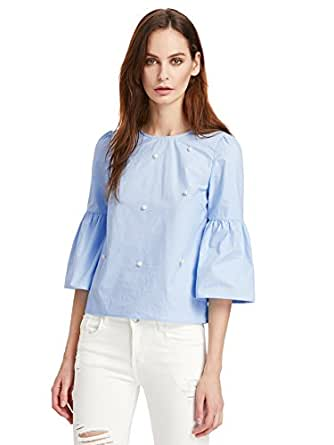 Floerns Women's Bell Sleeve Beading Casual Blouse Top Blue XS