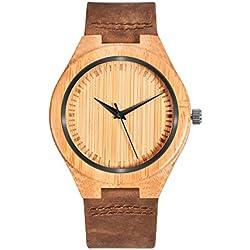 ZHHA Men 1448 Personal natural bamboo wooden watch quartz brown leather strap men's Wristwatch