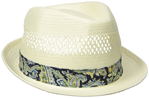 Henschel Men's Vented Toyo Straw Fedora with Paisley Band and Sweatband, Natural, Large