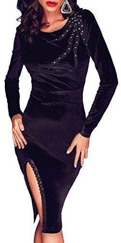 IF FEEL Sexy Women Black Velvet Scalloped Slit Long Sleeve Midi Dress ((US 12-14)L, Black)