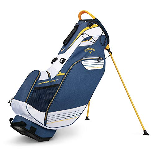 Callaway Golf 2018 Hyper Lite 3 Stand Bag ,Navy/ White/ Gold, Double Strap
