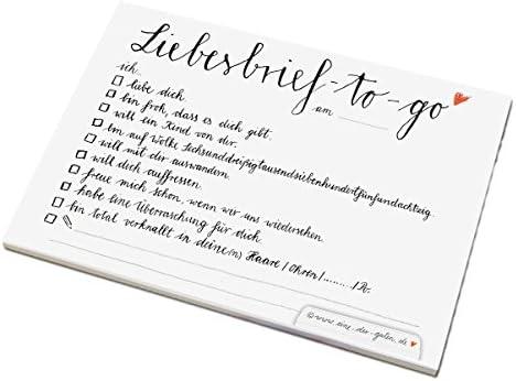Liebesbrief to go für Verliebte, Brautpaare und als Valentinstagsgeschenk, A6 Abreißblock, im schönen Kalligrafie Design, Schwarz Weiß