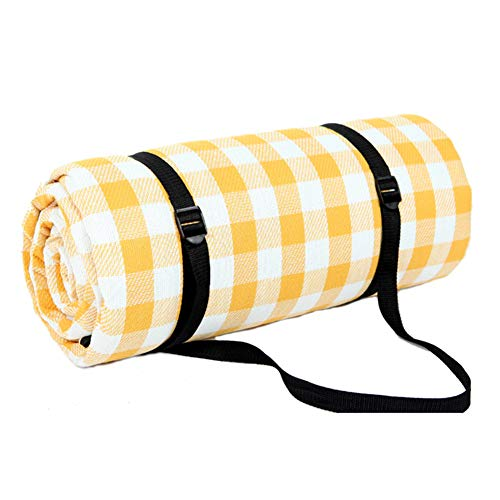 (JTYX Picnic Blanket with Handle Folding Portable Waterproof Moistureproof Yellow White Plaid Thicken Outdoor Camping Mat Easy to)