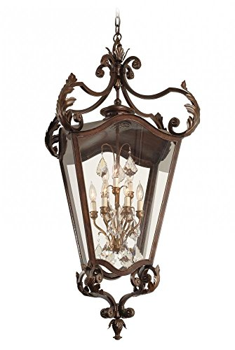 Lighting Bronze Corbett (Corbett 28574487 Corbett Nine Light Antique Bronze Framed Glass Foyer Hall Fixture - 782042927575)