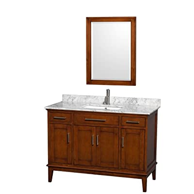 "Wyndham Collection Hatton 48"" Single Bathroom Vanity in Light Chestnut, White Carrera Marble Countertop, Square Sink & 24"" Mirror"