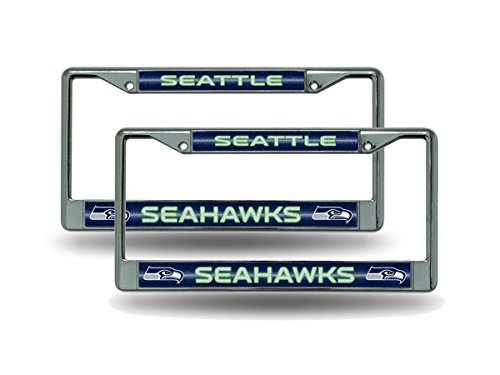 Rico Seattle Seahawks Chrome Metal (2) Bling License Plate Frame Set