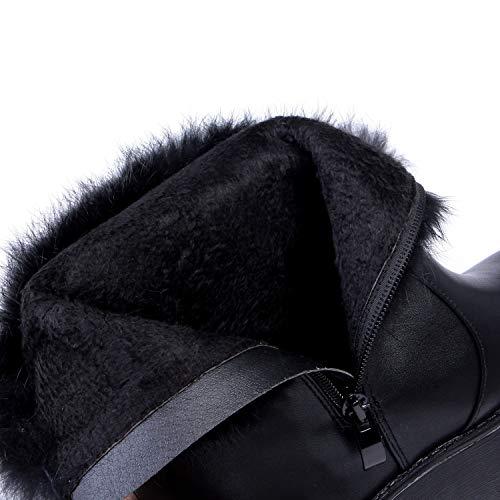 Con Para Mujer Nieve Negro Cuña Invierno Alto Botas Cálidas 36 De Tacón color Talla Liangxie Ártica 0WAqHS