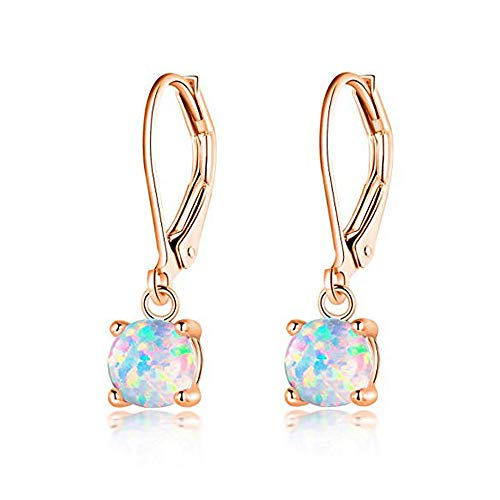 CiNily Rose Gold Plated Opal drop Earrings, Round-Cut White Fire Opal Women Jewelry leverback Gemstone Drop Earrings ()