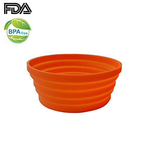 Ecoart Silicone Expandable Collapsible Bowl for Travel Camping Hiking, Orange (1 Pack)