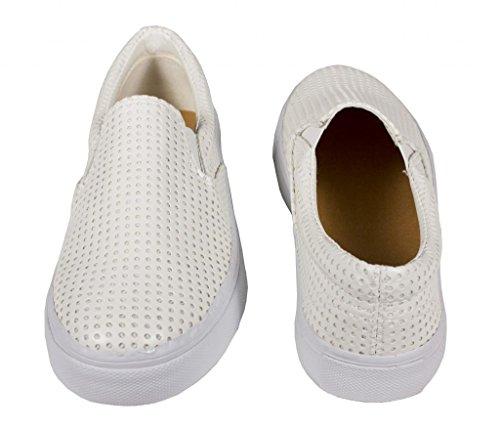 Steve! Soda Womens Fashion Perforerad Läder Slip På Sneakers I Vitt