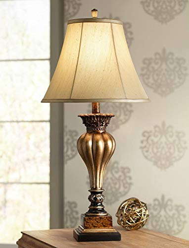 - Senardo Traditional Table Lamp Gold Fluted Floral Vase Tan Fabric Bell Shade for Living Room Family Bedroom Bedside Office - Regency Hill