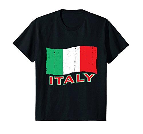 Price comparison product image Kids Italy Flag Vintage T-shirt I Love Italy Tee Forza Italia 4 Black