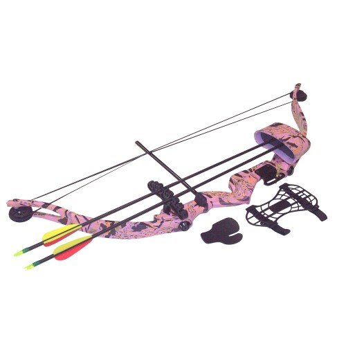 SA Sports Majestic Youth Compound Recurve Bow Set 566, Right Handed, Pink Camo