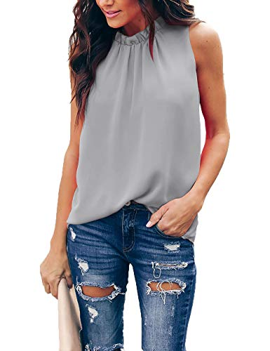 Pop lover Women Summer Chiffon Blouses Sleeveless Shirt O Neck Pleated Tank Halter Tops (Gray, S)