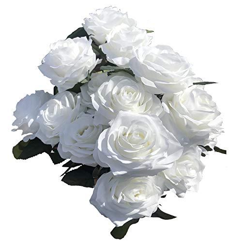 (DALAMODA Cream Color Artificial Silk Roses 2 Bundles (with Total 20 Heads) Artificial Silk Flower Rose Bush DIY Wedding Bride Bouquet Any Craft(Pack of 2 Bundles Cream))