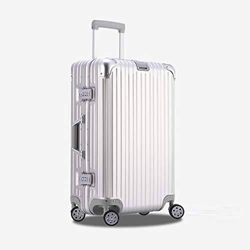 Aluminum 26 Inch Trolley - ZfgG Suitcase Carrying Trolley Case - All Metal Aluminum-Magnesium Alloy 4 Wheel Hand Luggage, Silver, 6 Size (Color : Silver, Size : 26 inches)