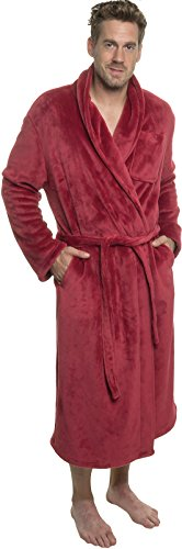 - Ross Michaels Mens Plush Shawl Collar Kimono Bathrobe Robe (Red, XXL)