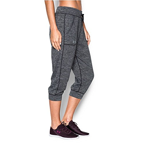 Under Armour Women's Twisted Tech Capri, Black/Metallic Silver, Small