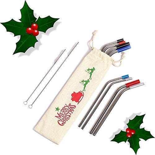 (Stainless Steel Straw Eco-Friendly Set of 8 Reusable Metal Bent Straws 8.5 10.5 Inch Tumblers Cups Mugs 30 oz 20 oz Drinking Hot Cold Beverage Travel Carry Pouch 8 Silicone Tips 2 Cleaning Brushes)