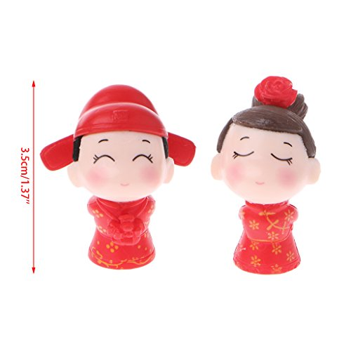 - PoityA Chinese Bride Groom Figure Miniature Ornaments Smiling Doll Toy Wedding Cake Red