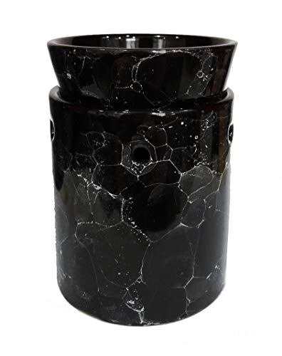 Marble Decorative Ceramic Tart Warmer - Set of Dish and Burner - Electric Candle and Oil Warmer - Easy Plug in Feature (Black)