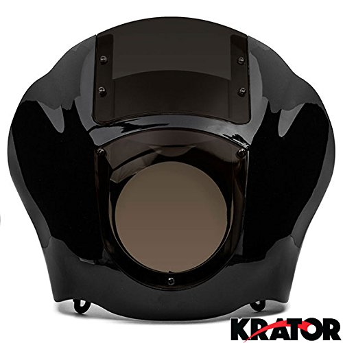 Krator New Black & Smoke Quarter Fairing Windshield Kit For Harley Davidson Xl Fxr Dyna