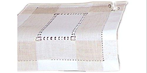 klassische Tischdecke HALBLEINEN mit Hohlsaum Wollweiß natur grau / ecru schlichte Eleganz (Deckchen 30x40 cm rechteckig)