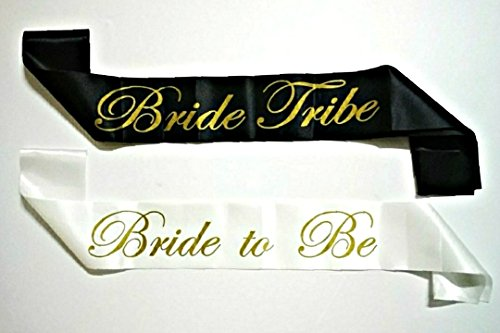 7 piece Bachelorette Party Sash Set: 6 x BRIDE TRIBE in Gold Letters on Black, 1 x BRIDE TO BE in Gold Letters on White (Party Favors for Hen Party, Bridal Shower & Wedding (Cinderella Theme Bridal Shower)